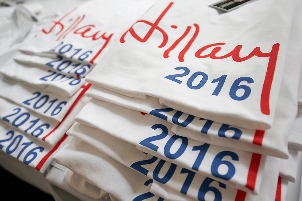 Hillary Clinton t-shirts are seen during a 'Democrats Abroad' function