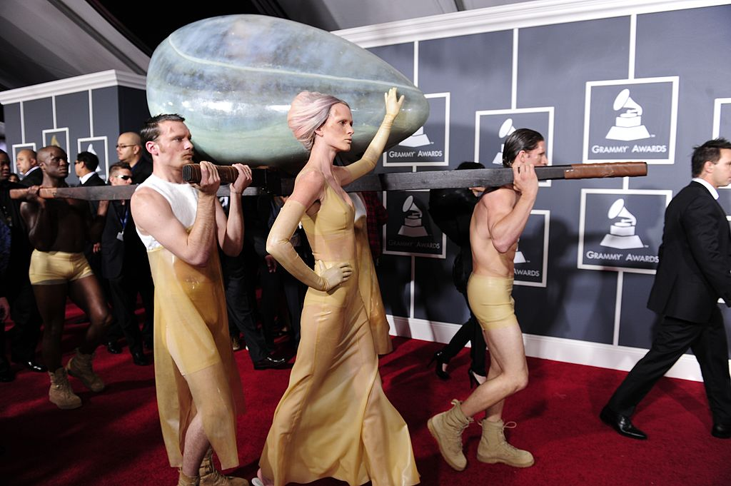An egg-like container with singer Lady Gaga inside arrives for the 53rd Annual Grammy Awards