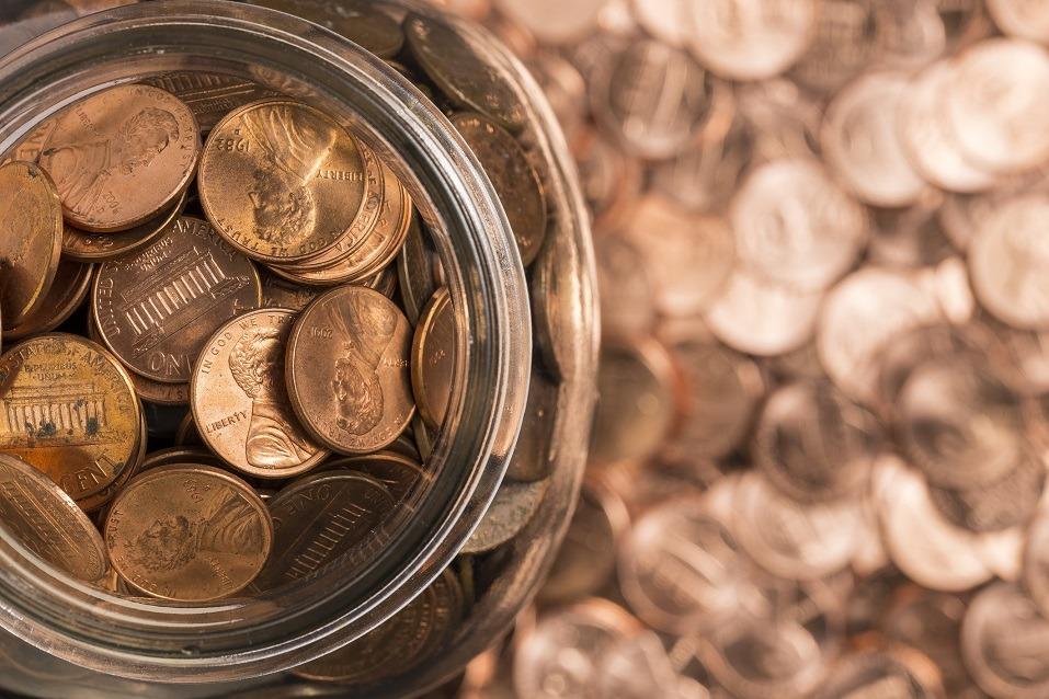 A jar of pennies