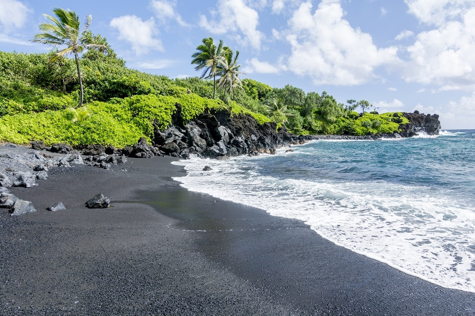 Black beach on Hawaii