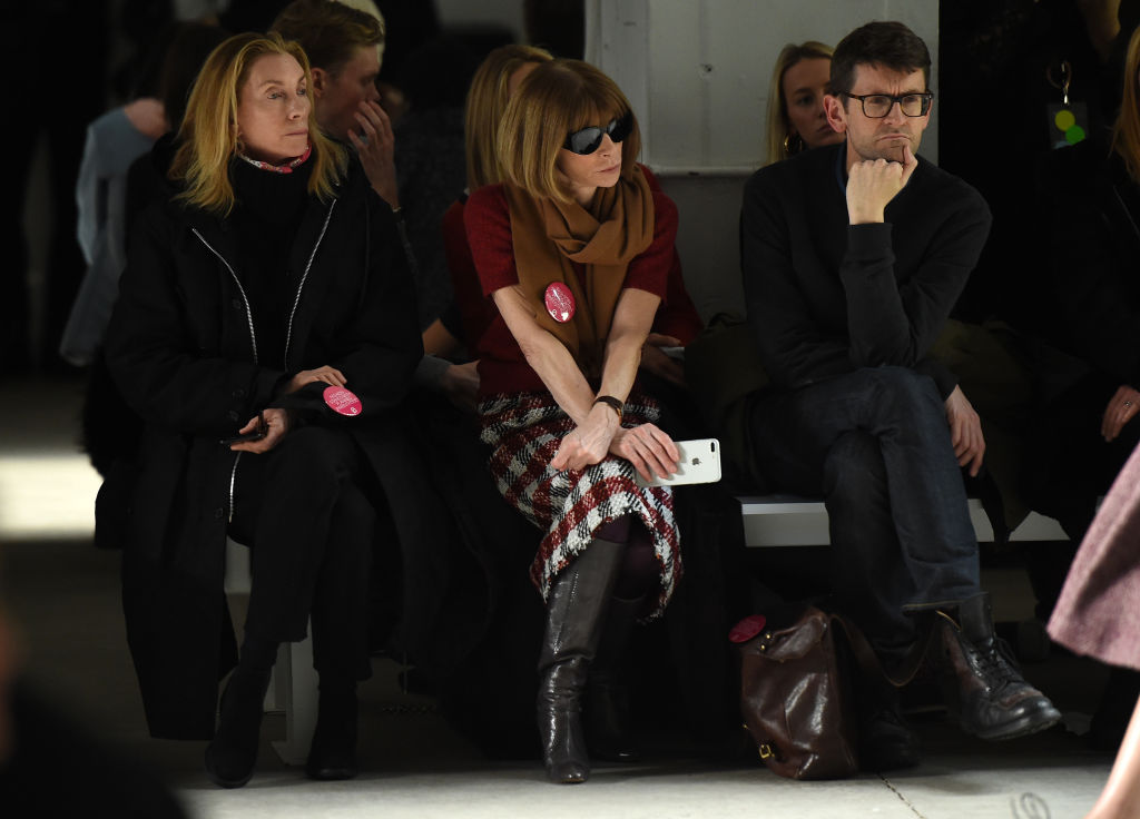 Anna Wintour (C) attends the Brock Collection fashion show