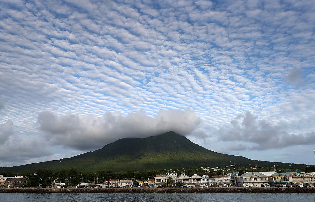 Cloud formations over the volcanic peak on Nevis