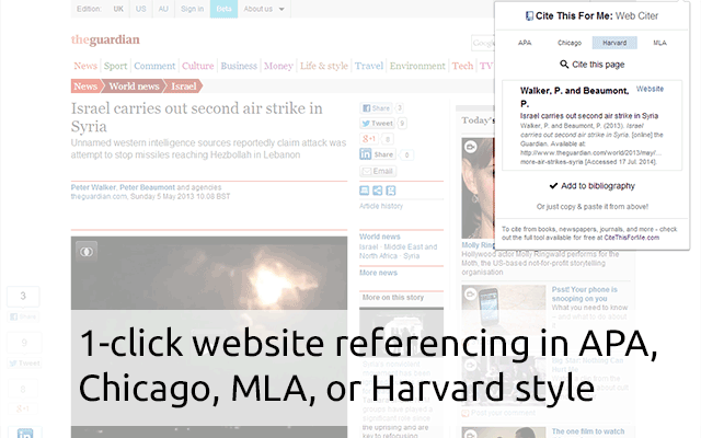 The Cite This For Me Chrome extension is one of the best Chrome web store downloads for students and writers