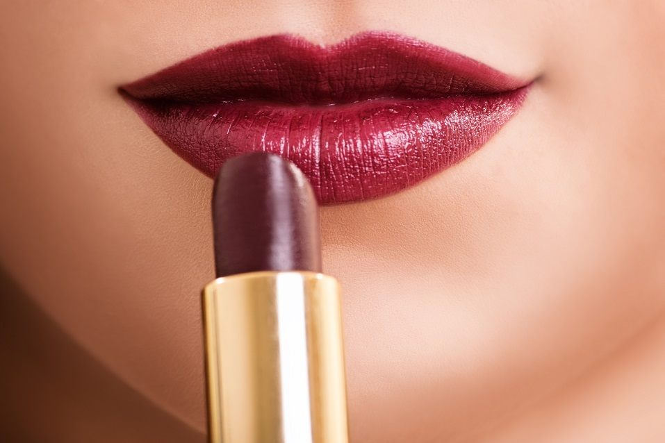 female mouth with red lipstick