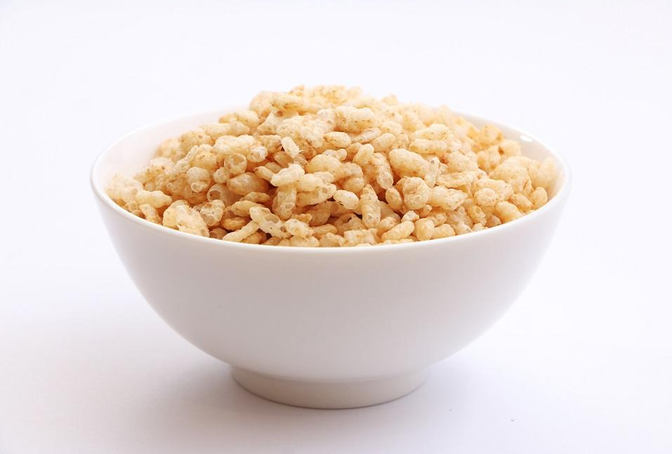 A bowl of crispy rice cereal