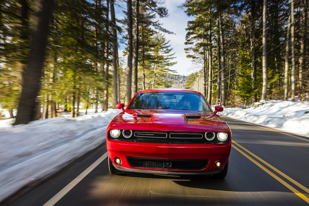 A red 2017 Dodge Challenger GT AWD