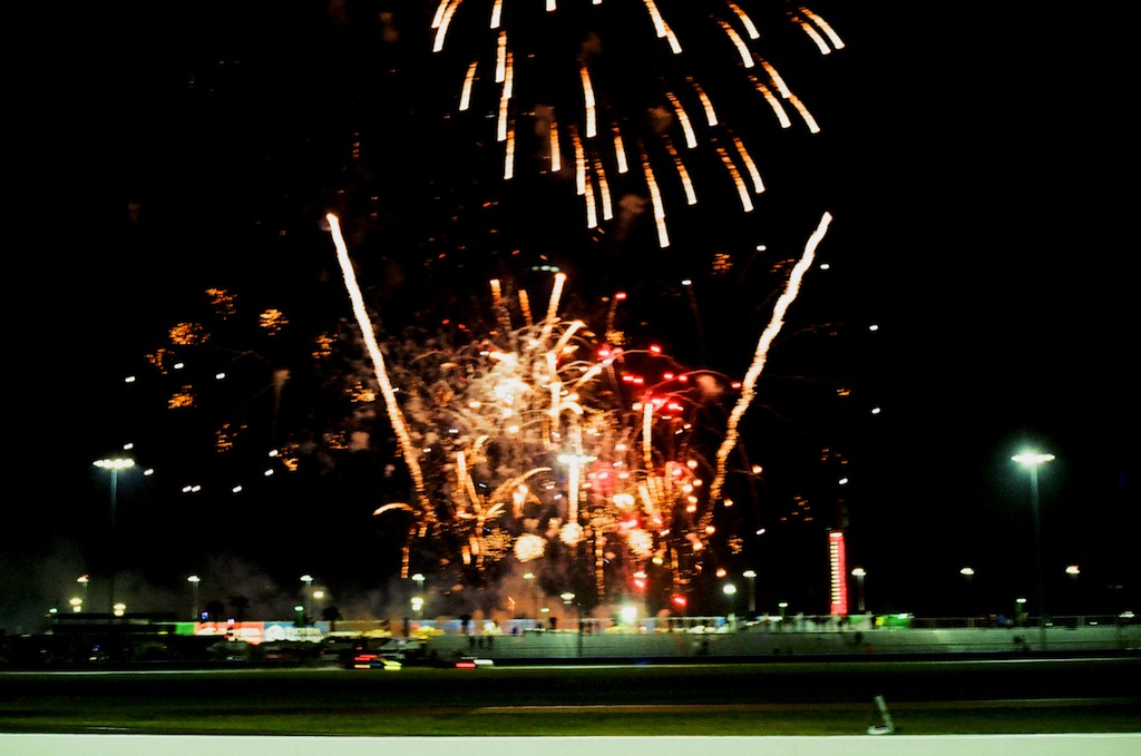 During a brief break in the rain, the traditional fireworks display took place