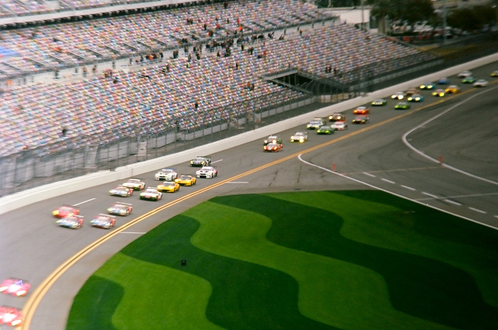 The race starts as the pace car pulls back into the pits