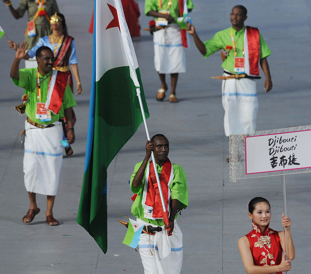 Salah Houssein Ahmed Djibouti's flag bearer parades in front of his delegation