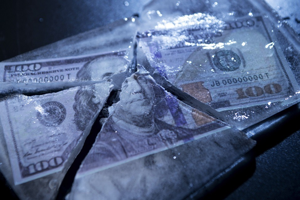 100 Dollars frozen and cracked