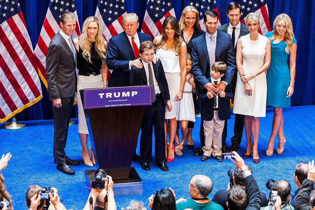 Eric Trump, Lara Yunaska Trump, Donald Trump, Barron Trump, Melania Trump, Vanessa Haydon Trump, Kai Madison Trump, Donald Trump Jr., Donald John Trump III, Jared Kushner, Ivanka Trump, and Tiffany Trump pose for photos