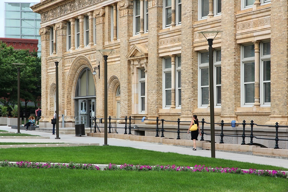 Students walk past Drexel University