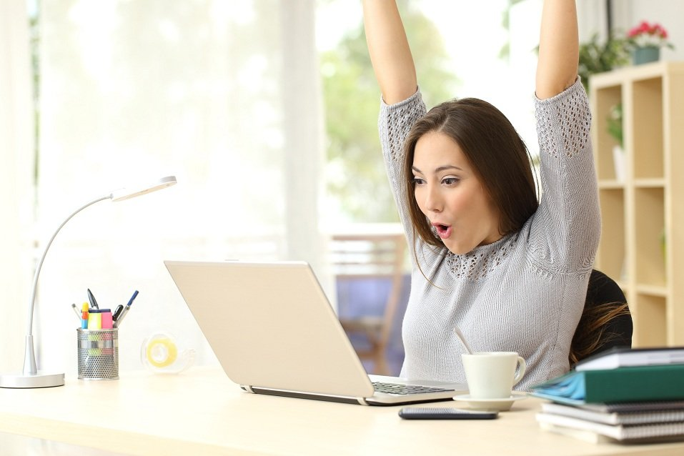 Euphoric and surprised woman