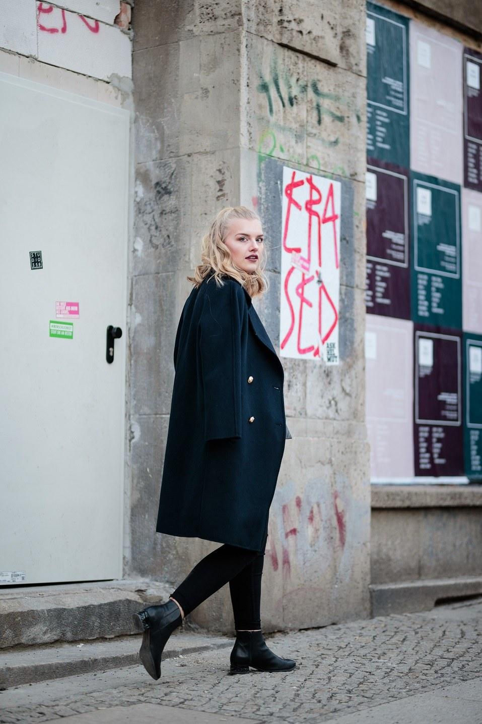 Eva Jasmin poses for photos during the Mercedes-Benz Fashion Week Berlin
