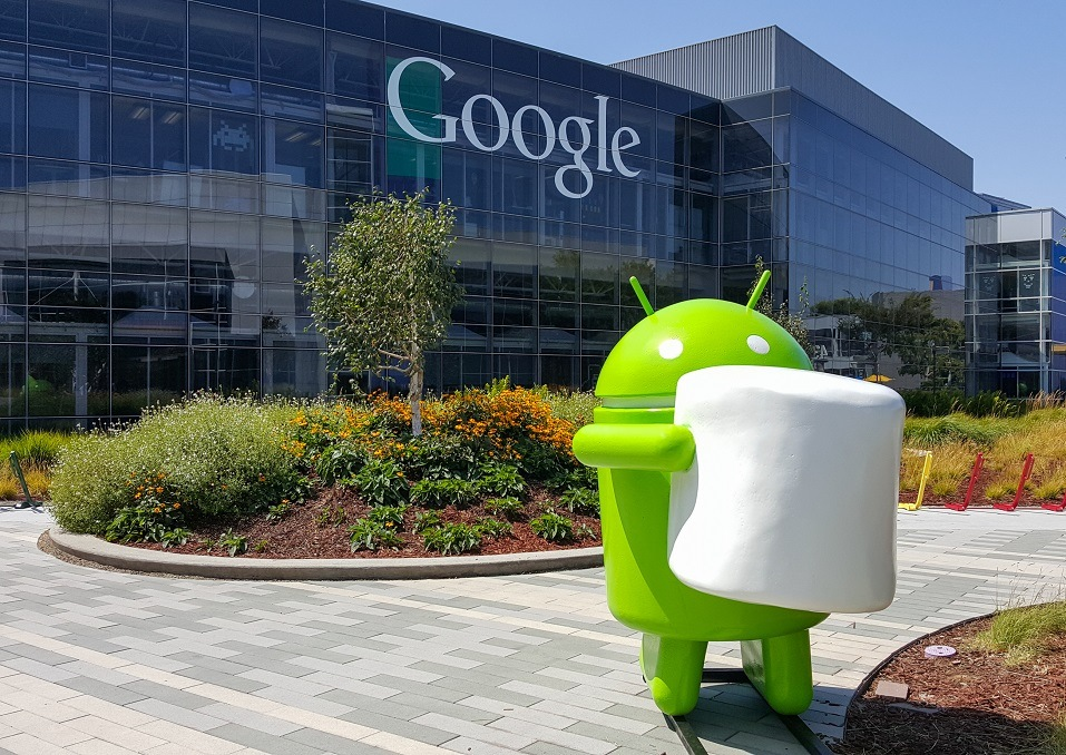 Android Marshmallow (latest android OS) replica in front of Google office