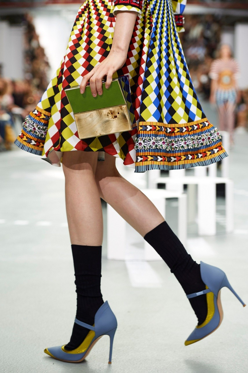 A model presents a creation by designer Mary Katrantzou