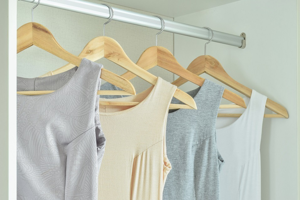 Female clothes on hangers