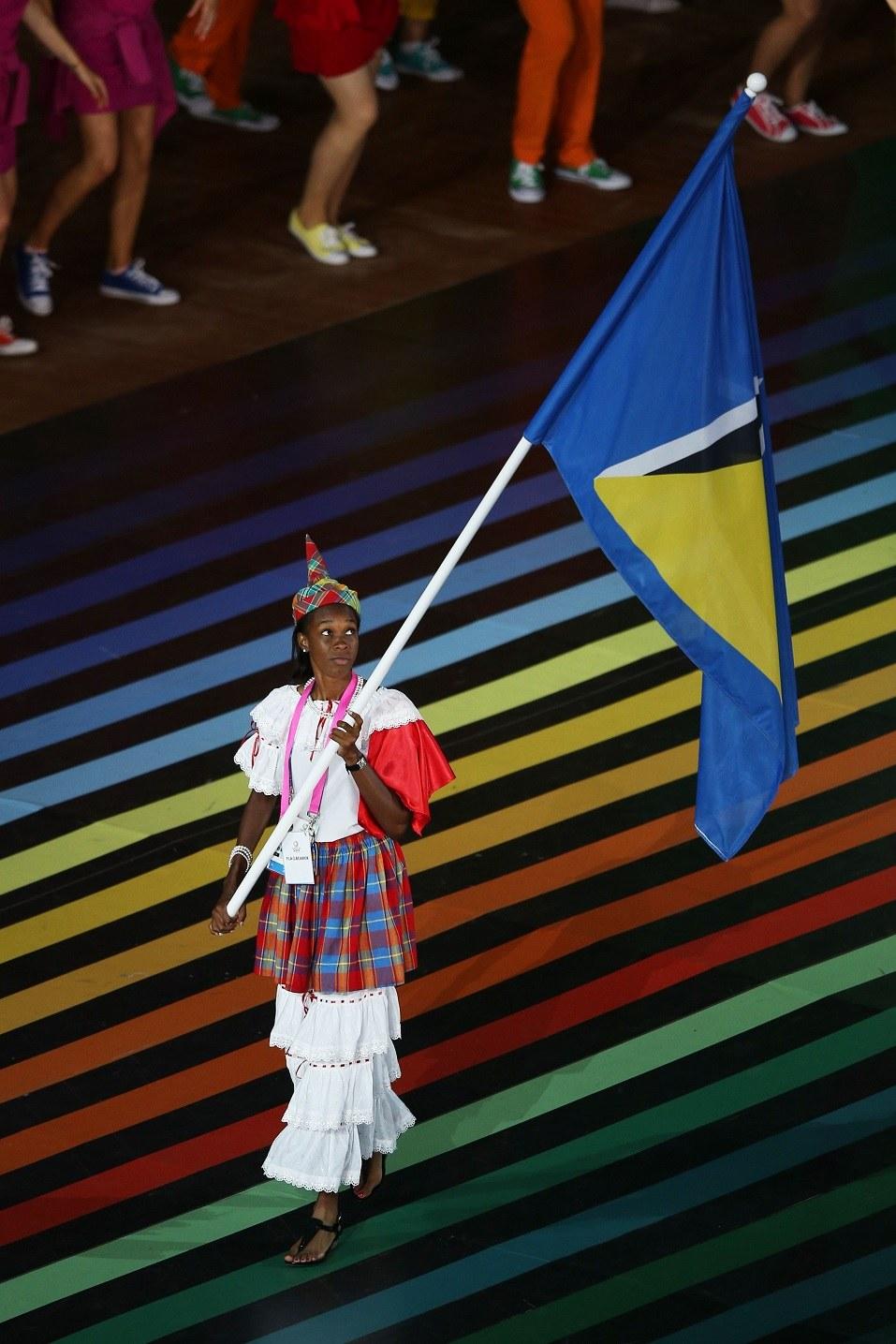 Flag bearer and Athlete Leverin Spencer of Saint Lucia