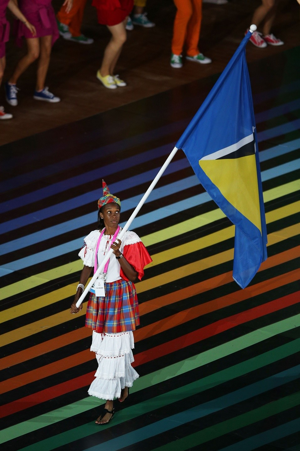 Flag bearer and Athlete Leverin Spencer of Saint Lucia