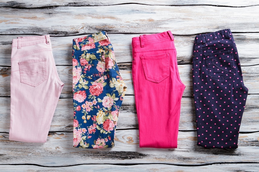 Floral and pink folded pants