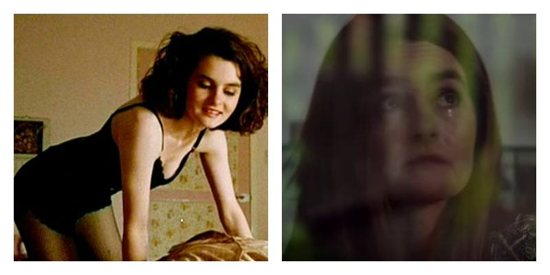 Shirley Hednerson as Gail in Trainspotting and Trainspotting 2 side by side