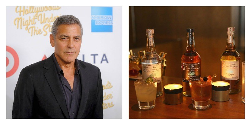 On the left is a picture of George Clooney smiling on the red carpet. On the right is a picture of three bottles of Casamigos Tequila