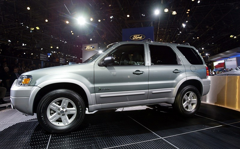 NEW YORK - APRIL 7: The Ford 2005 Escape Hybrid is seen at a press preview of the 2004 New York International Auto Show April 7, 2004 in New York City. The show will be open to the public April 9-18.