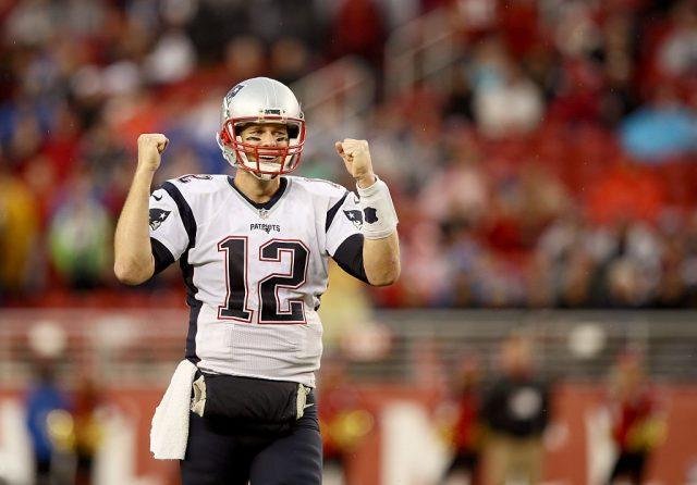 Tom Brady on the football field.