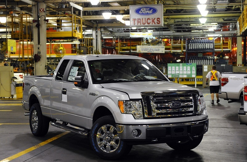 A F-150 pickup sits on the assembly floor at the Kansas City Ford Assembly plant October 2, 2008 in Claycomo, Missouri.