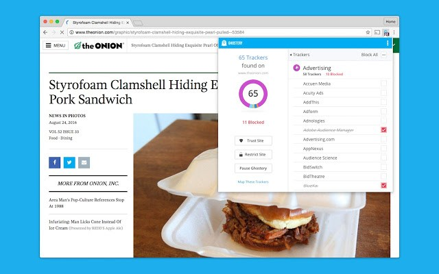 Ghostery Chrome extension