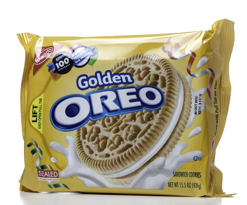 Golden Oreo sandwich cookies in their package