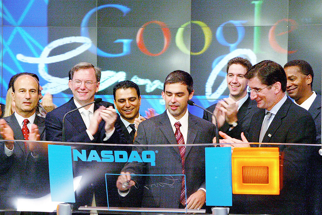 Google, Inc. is listed on the NASDAQ stock exchange for the first time