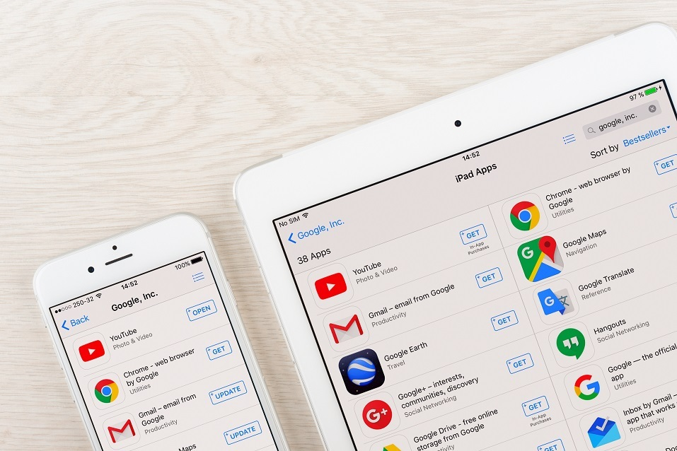 Google applications on iphone and ipad display