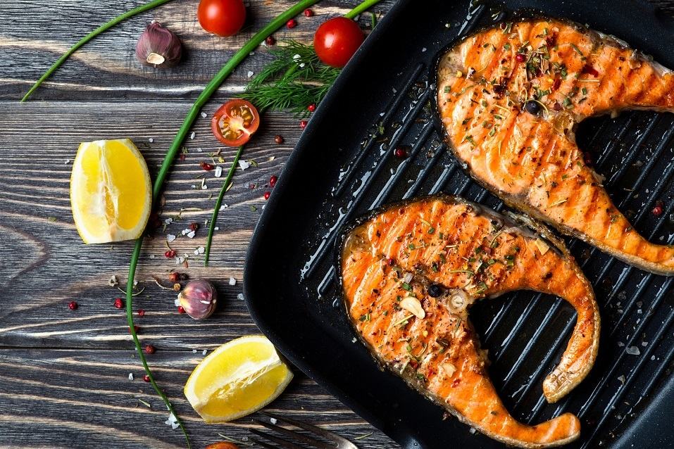 Grilled red fish steaks salmon