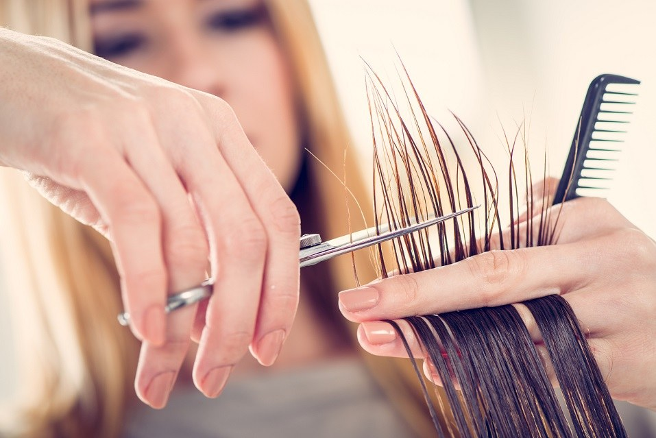 Hairdresser cutting the hair of a woman