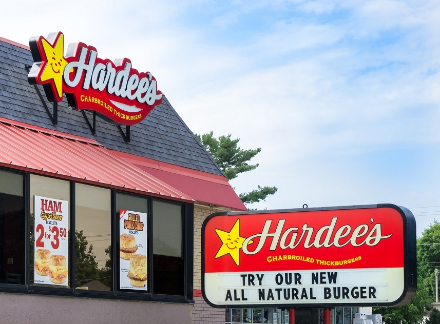 Hardee's exterior and welcome sign
