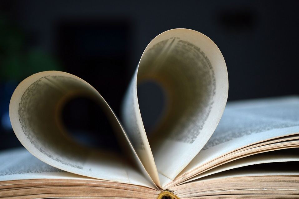 Heart-shaped book pages