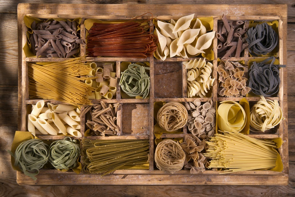 wooden varieties of pasta made in Italy