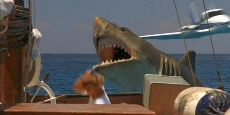 Shark is jumping out of the water while a woman is running away