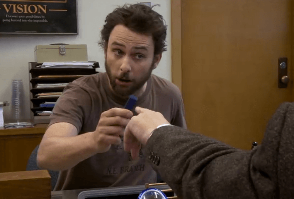 "Charlie goes on a job interview in ""It's Always Sunny in Philadelphia"""