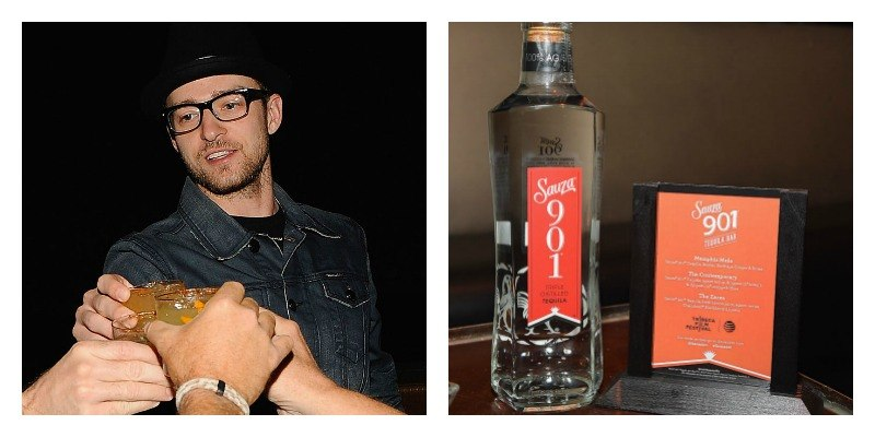 On the left is a picture of Justin Timberlake about to take a shot and on the right is a picture of a bottle of 901 Tequila