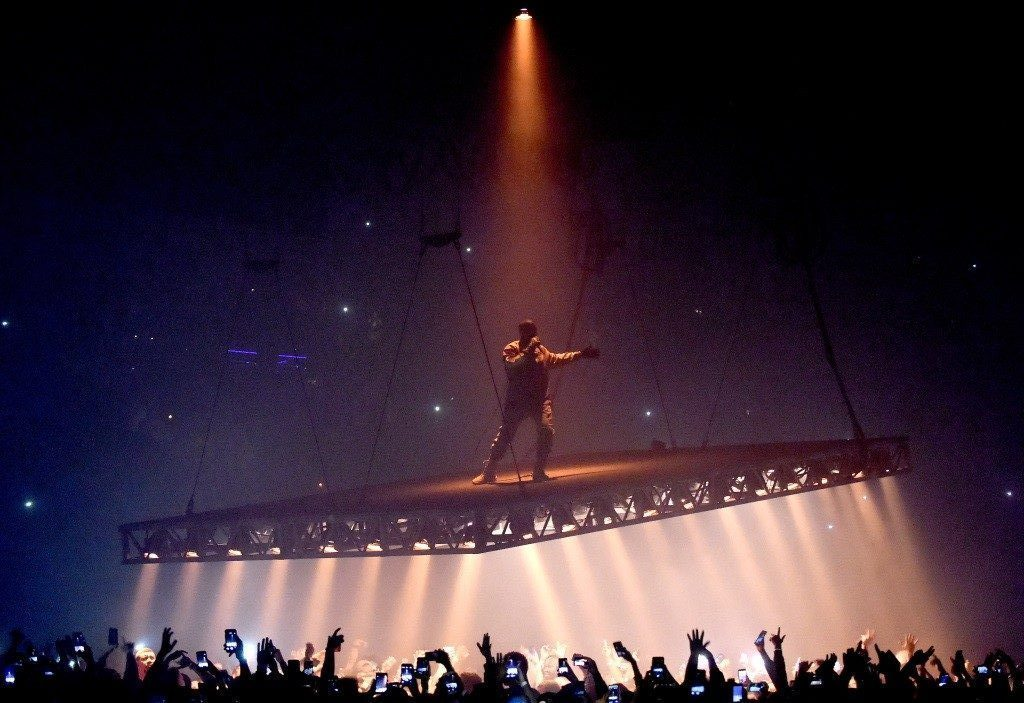 Rapper Kanye West performs.