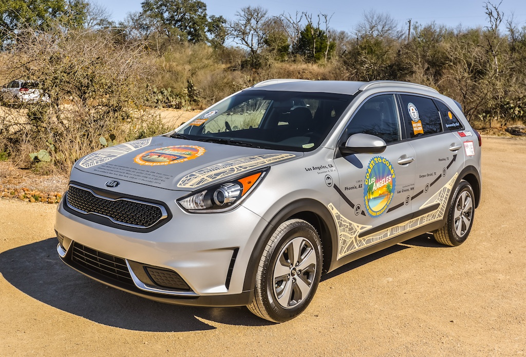 The actual Kia Niro that set a World Record 76 MPGs across America
