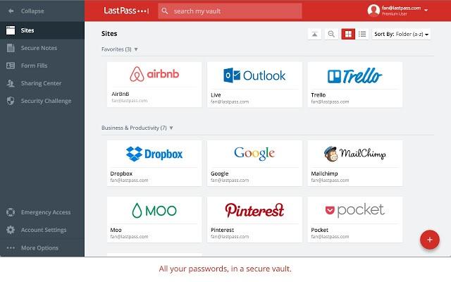 The LastPass Chrome extension