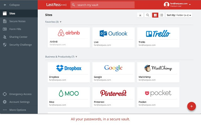 The LastPass Chrome extension