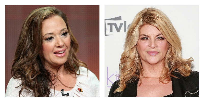 On the left is a picture of Leah Remini talking. On the right is a picture of Kirstie Alley on the red carpet.