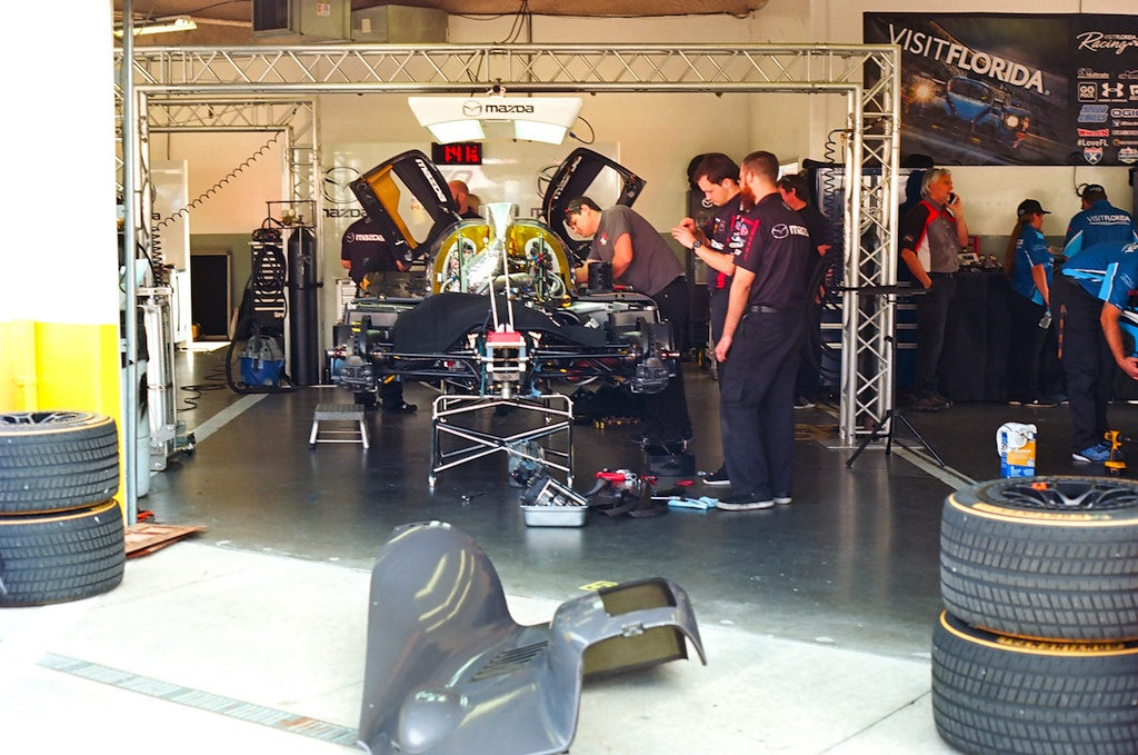 The #70 RT24-P in the Mazda garage less than an hour before the race