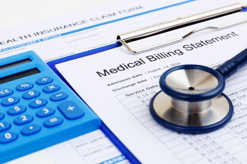 Medical bill and health insurance forms