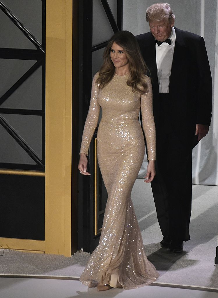 US President-elect Donald Trump and wife Melania Trump arrive for a reception and dinner at Union Station in Washington, DC