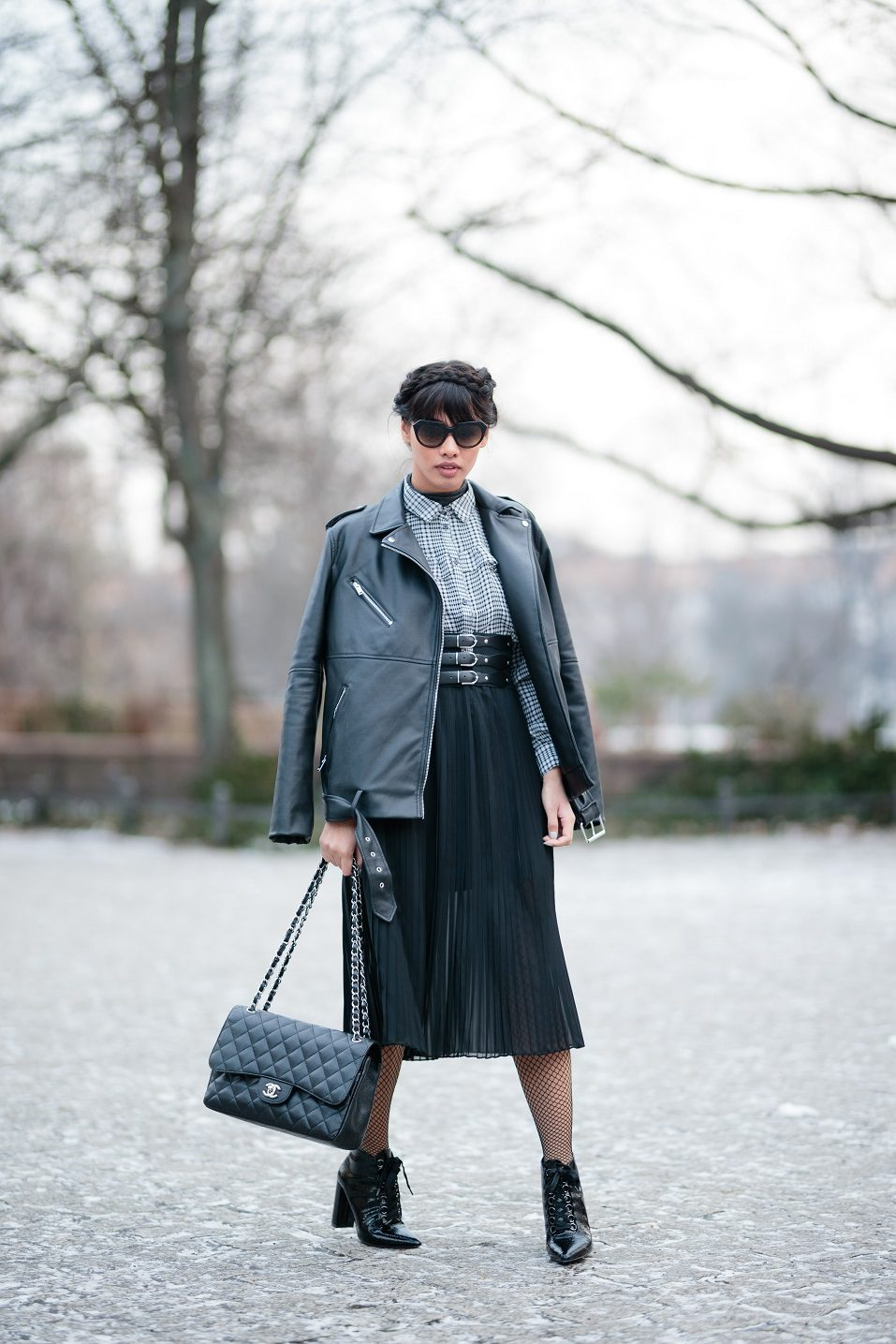 Diana Buenger, aka The Fashion Anarchy poses for photos during the Mercedes-Benz Fashion Week